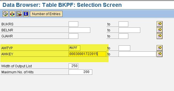 BKPF Input Screen